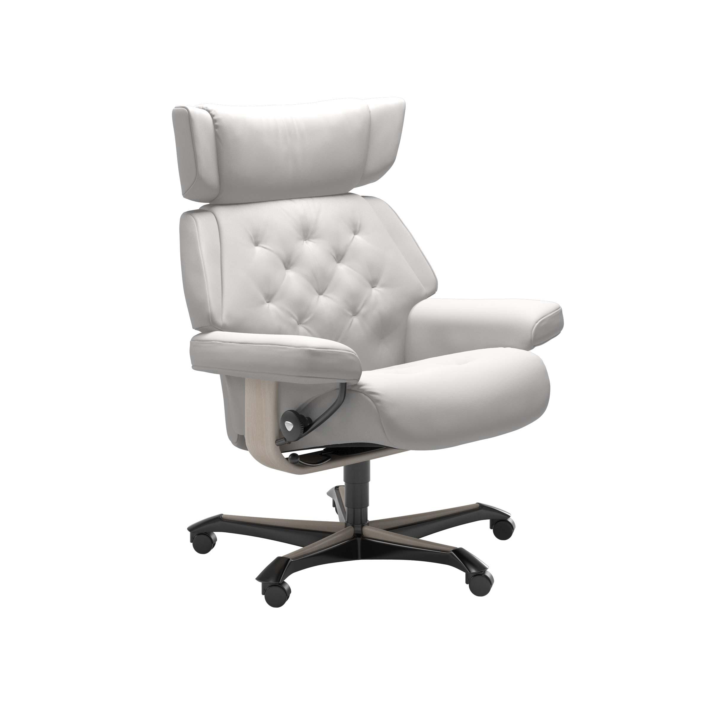 Stressless® Sessel Skyline Home Office (M), Leder Batick snow, Gestellfarbe whitewash